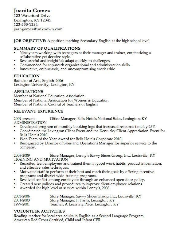 Образец резюме (CV) на английском языке